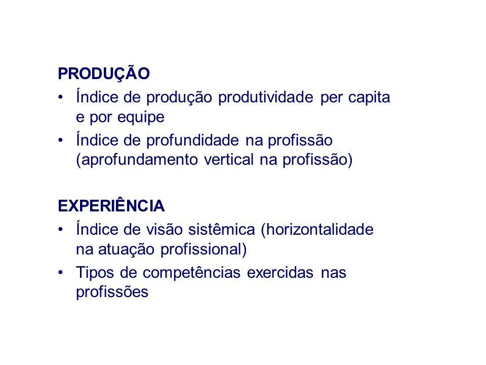 PRODUÇÃO Índice de produção produtividade per capita e por equipe. Índice de profundidade na profissão (aprofundamento vertical na profissão)
