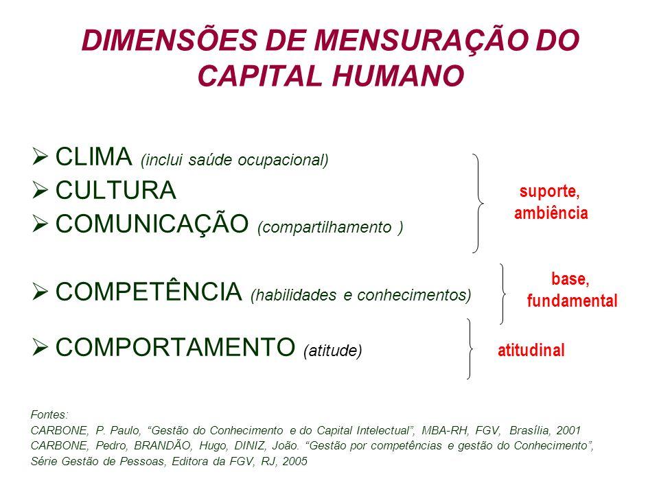 DIMENSÕES DE MENSURAÇÃO DO CAPITAL HUMANO