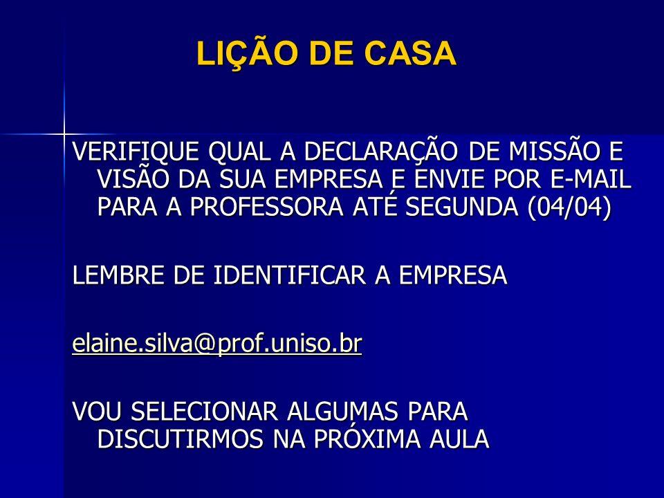 LIÇÃO DE CASA VERIFIQUE QUAL A DECLARAÇÃO DE MISSÃO E VISÃO DA SUA EMPRESA E ENVIE POR E-MAIL PARA A PROFESSORA ATÉ SEGUNDA (04/04)