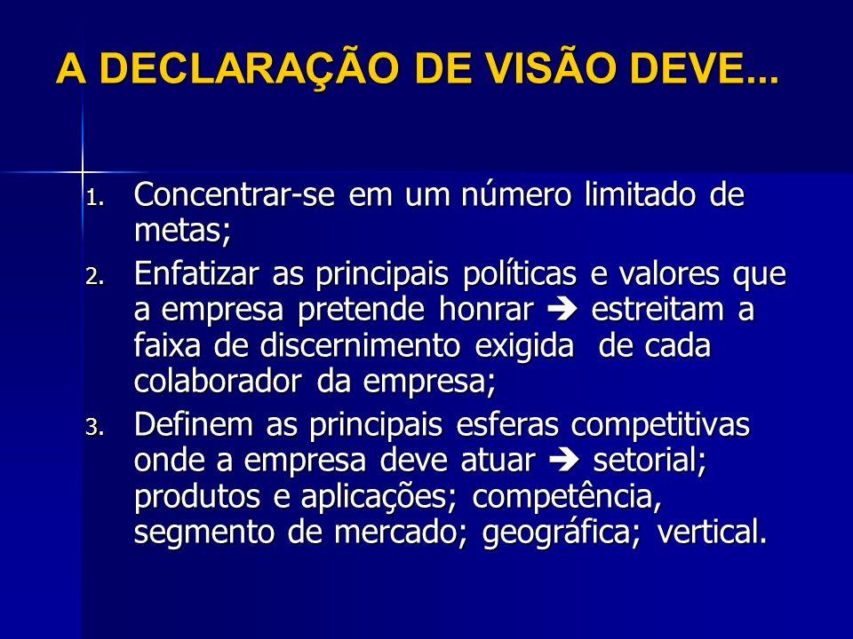 A DECLARAÇÃO DE VISÃO DEVE...