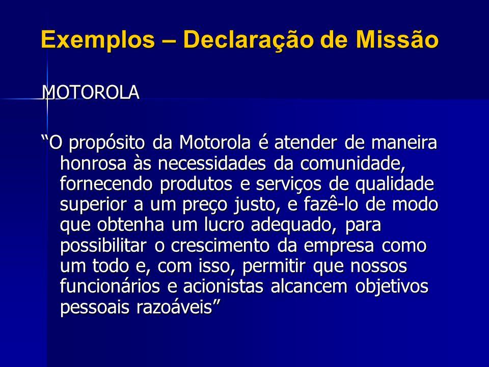 Exemplos – Declaração de Missão