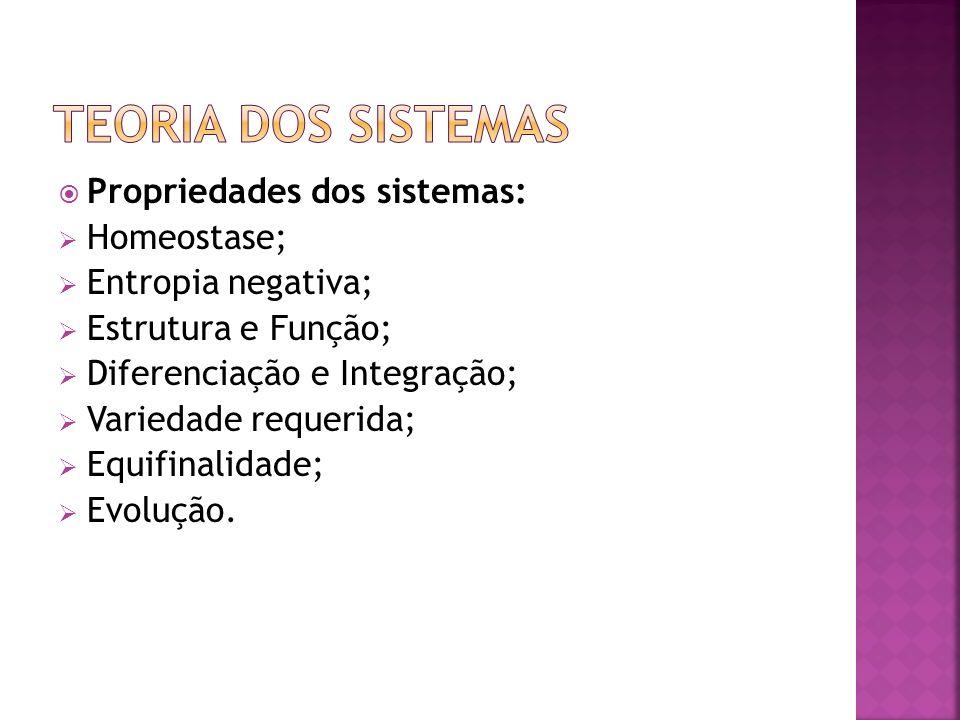 Teoria dos Sistemas Propriedades dos sistemas: Homeostase;