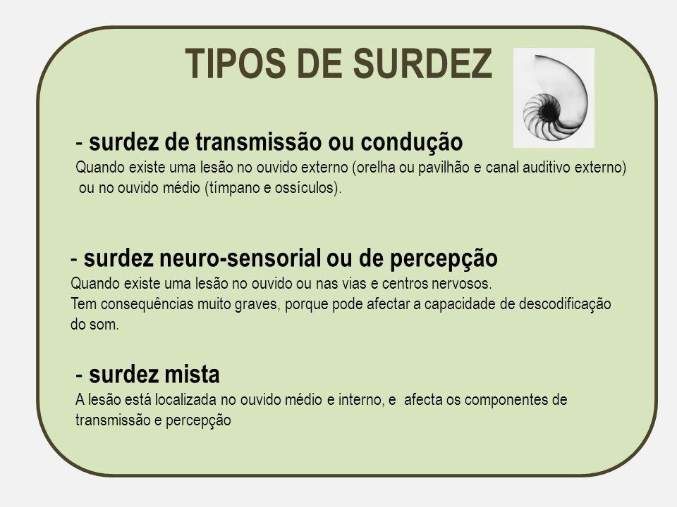 TIPOS DE SURDEZ - surdez de transmissão ou condução