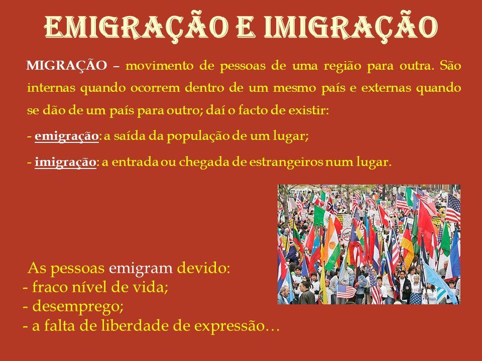 EMIGRAÇÃO e imigração As pessoas emigram devido: fraco nível de vida;