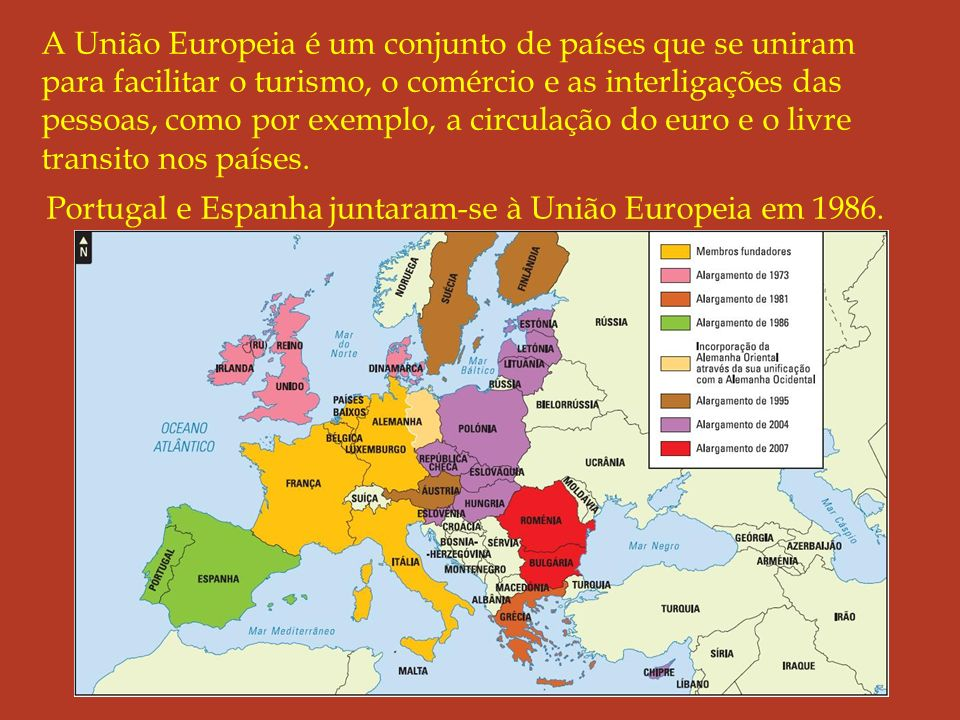 A União Europeia é um conjunto de países que se uniram para facilitar o turismo, o comércio e as interligações das pessoas, como por exemplo, a circulação do euro e o livre transito nos países.