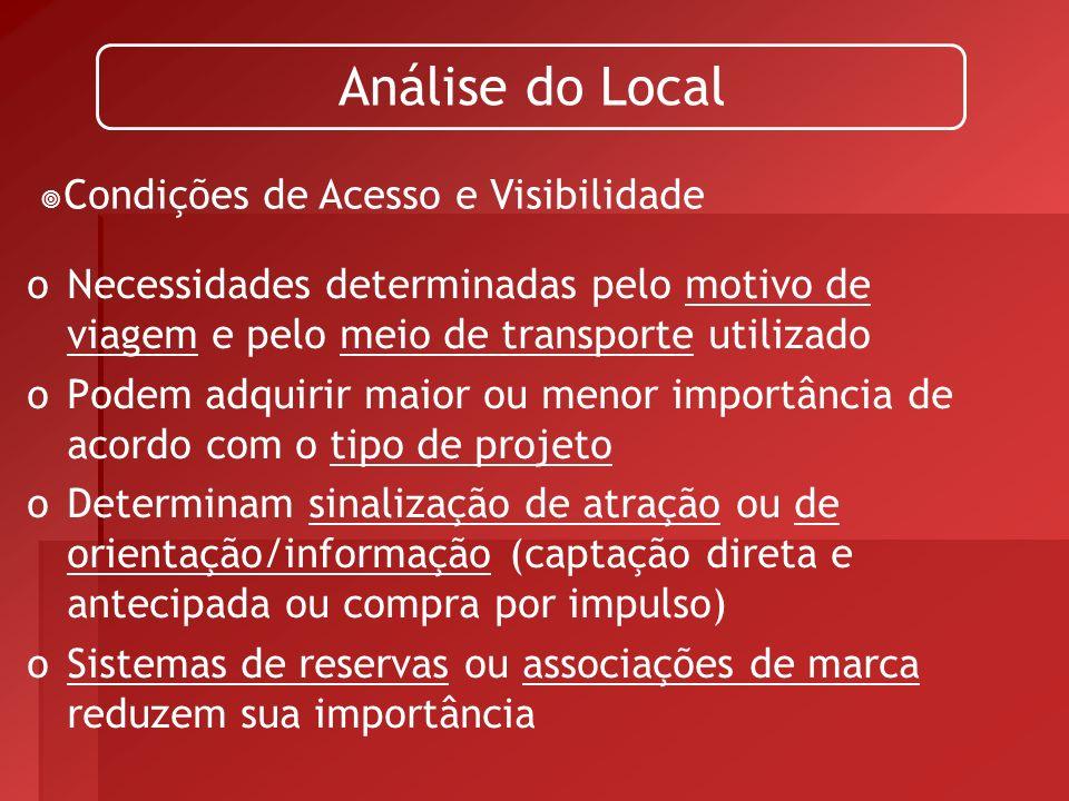 Análise do Local Condições de Acesso e Visibilidade. Necessidades determinadas pelo motivo de viagem e pelo meio de transporte utilizado.