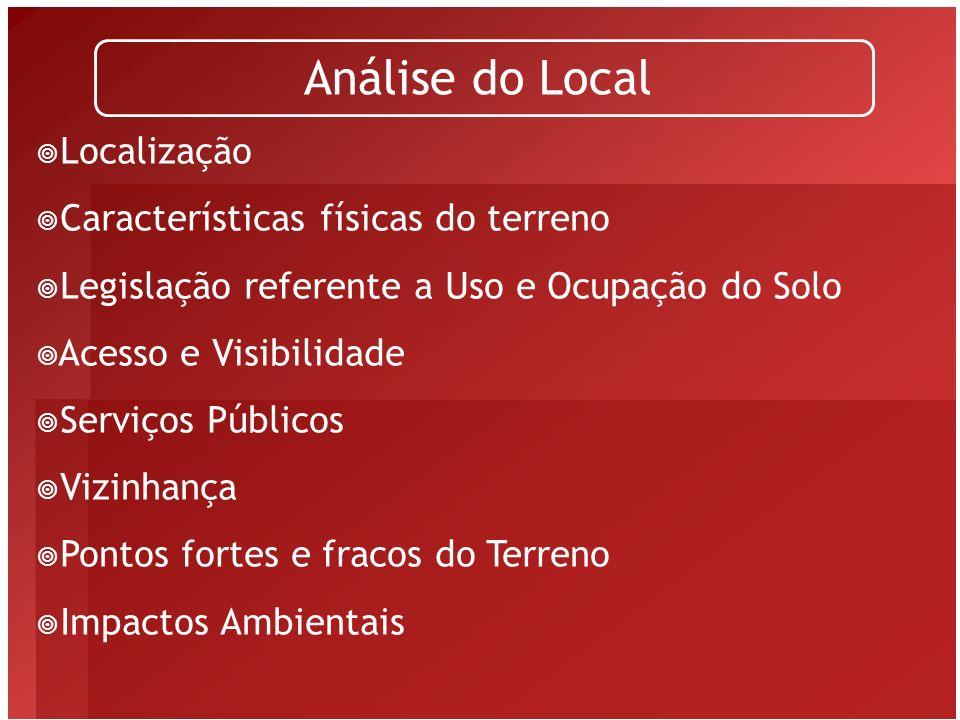 Análise do Local Localização Características físicas do terreno