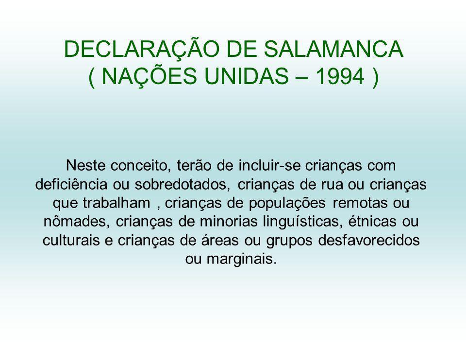 DECLARAÇÃO DE SALAMANCA ( NAÇÕES UNIDAS – 1994 )