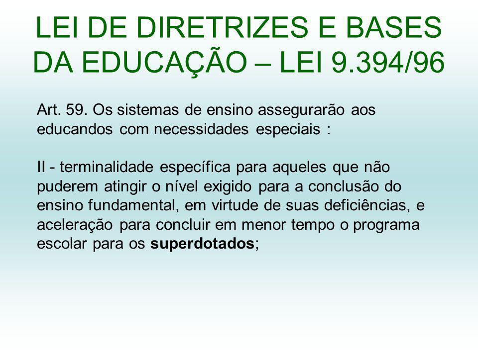 LEI DE DIRETRIZES E BASES DA EDUCAÇÃO – LEI 9.394/96
