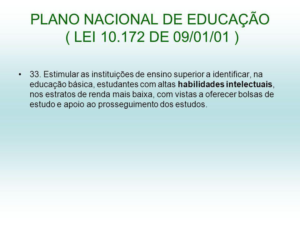 PLANO NACIONAL DE EDUCAÇÃO ( LEI 10.172 DE 09/01/01 )