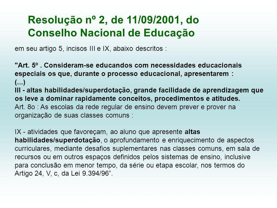 Resolução nº 2, de 11/09/2001, do Conselho Nacional de Educação