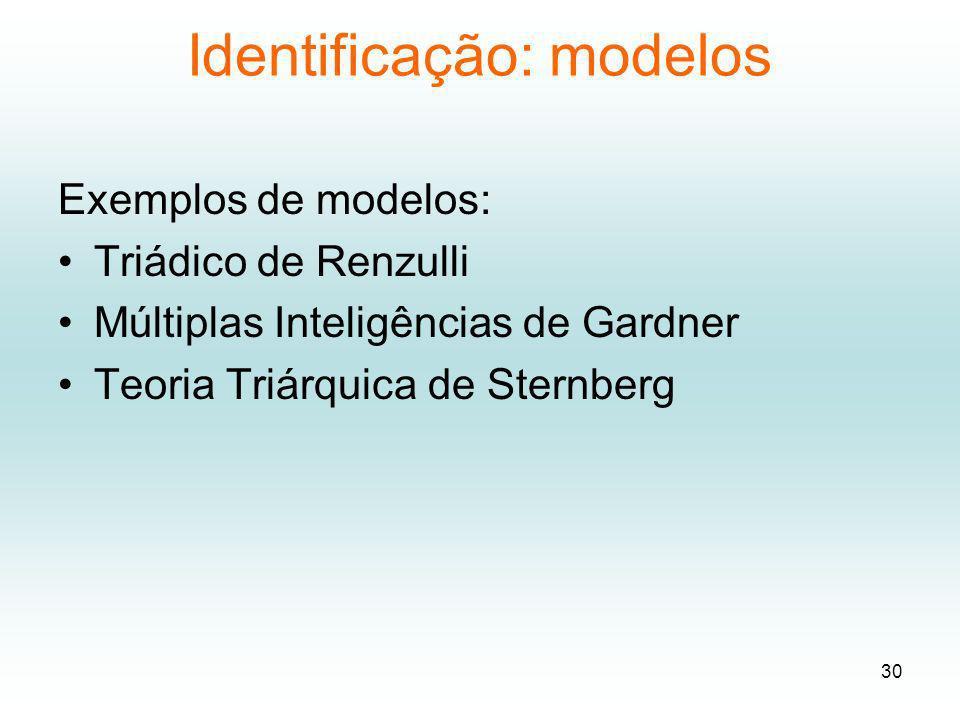 Identificação: modelos