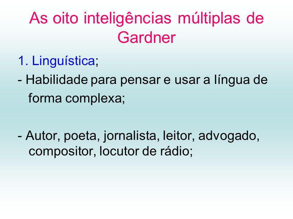 As oito inteligências múltiplas de Gardner