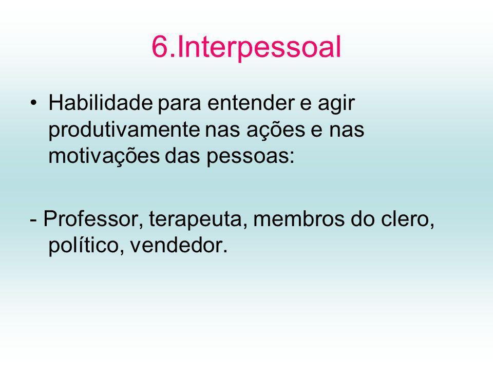 6.Interpessoal Habilidade para entender e agir produtivamente nas ações e nas motivações das pessoas: