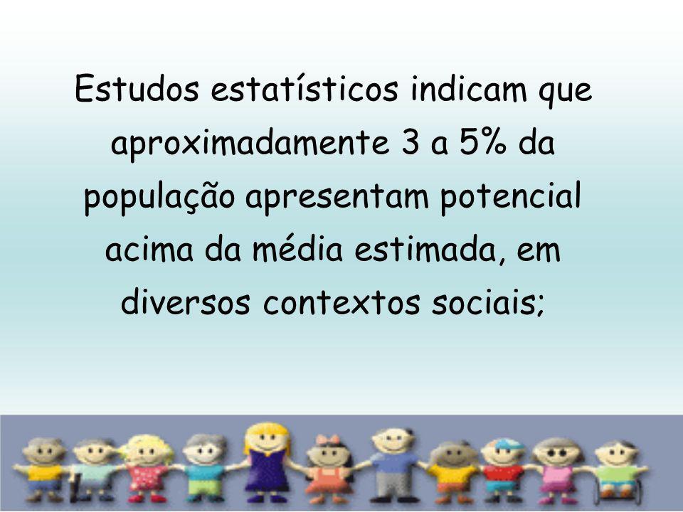 Estudos estatísticos indicam que aproximadamente 3 a 5% da população apresentam potencial acima da média estimada, em diversos contextos sociais;
