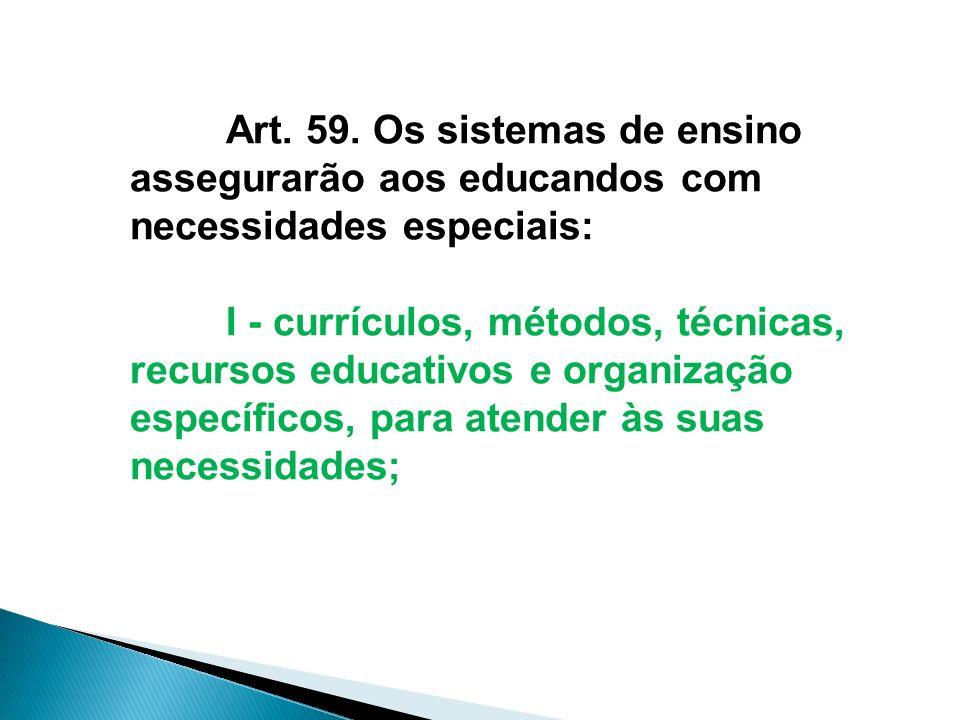 Art. 59. Os sistemas de ensino assegurarão aos educandos com necessidades especiais:
