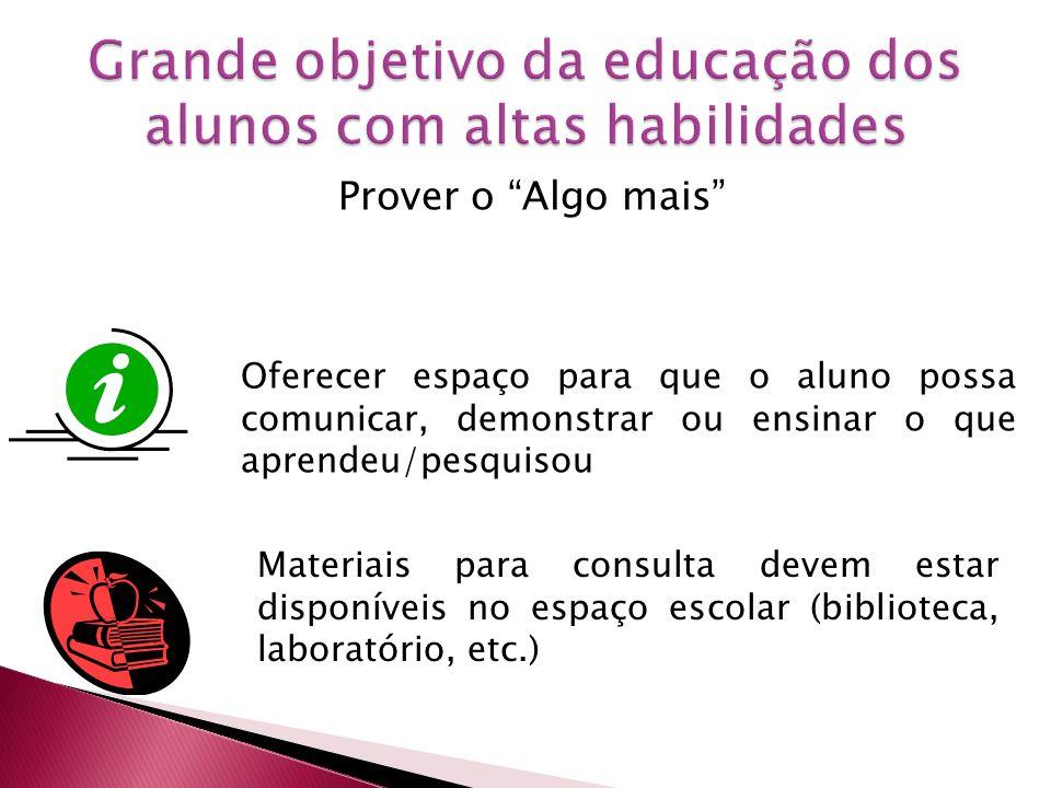 Grande objetivo da educação dos alunos com altas habilidades