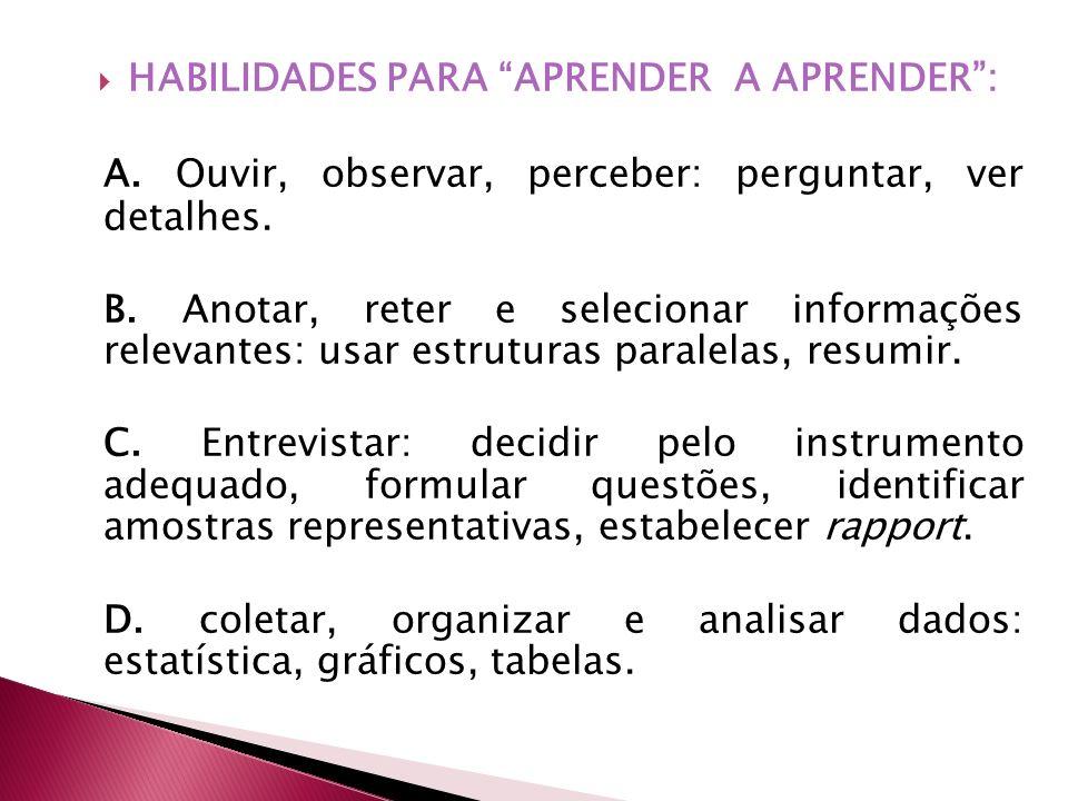 HABILIDADES PARA APRENDER A APRENDER :