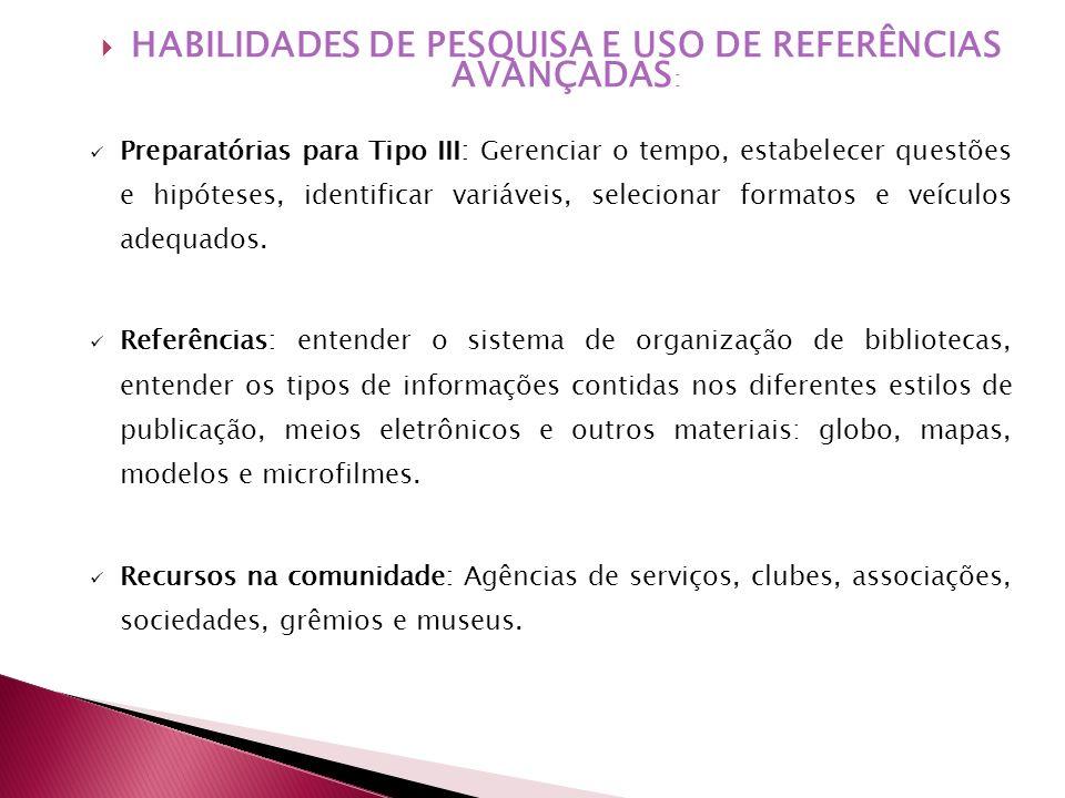 HABILIDADES DE PESQUISA E USO DE REFERÊNCIAS AVANÇADAS: