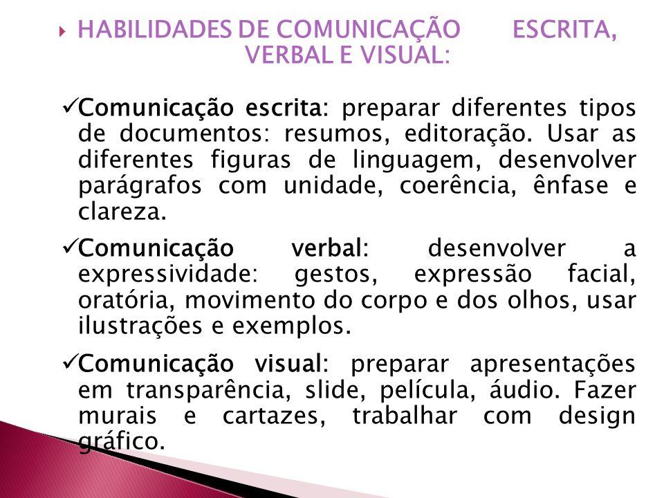 HABILIDADES DE COMUNICAÇÃO ESCRITA, VERBAL E VISUAL: