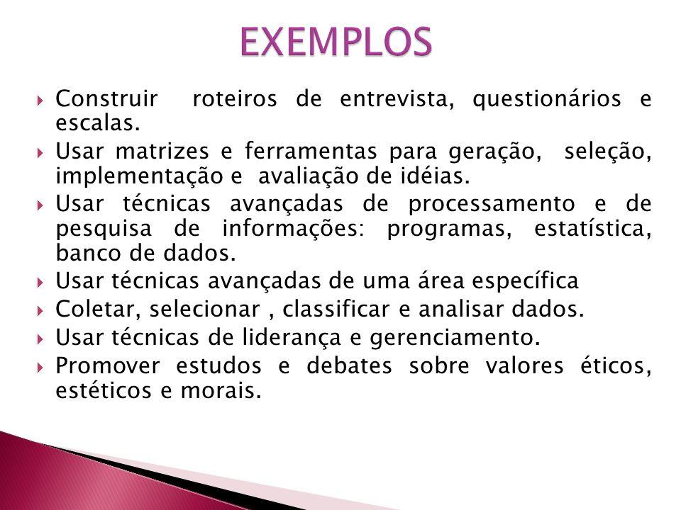 EXEMPLOS Construir roteiros de entrevista, questionários e escalas.