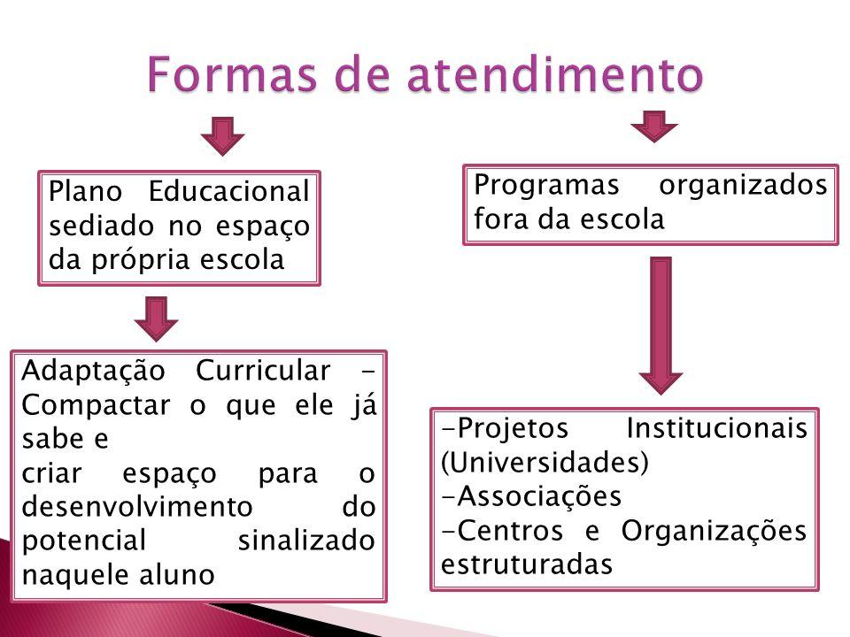 Formas de atendimento Programas organizados fora da escola