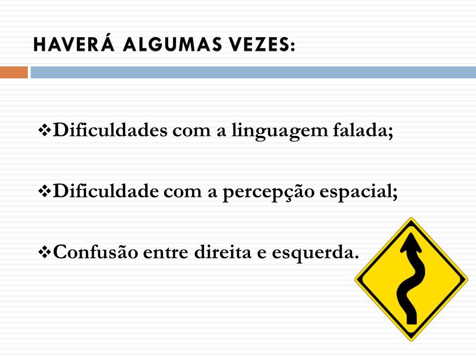 HAVERÁ ALGUMAS VEZES:Dificuldades com a linguagem falada; Dificuldade com a percepção espacial; Confusão entre direita e esquerda.