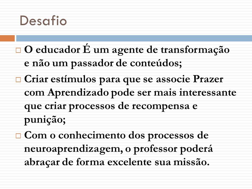 Desafio O educador É um agente de transformação e não um passador de conteúdos;