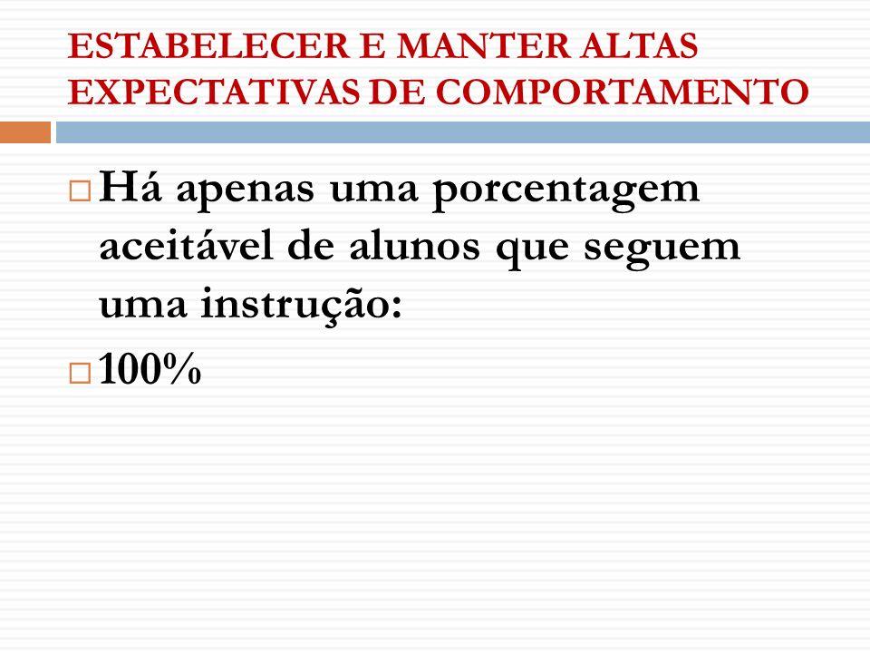 ESTABELECER E MANTER ALTAS EXPECTATIVAS DE COMPORTAMENTO