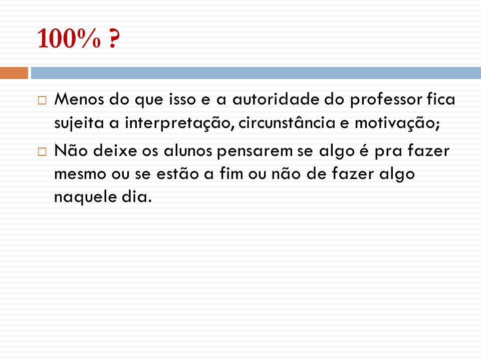 100% Menos do que isso e a autoridade do professor fica sujeita a interpretação, circunstância e motivação;