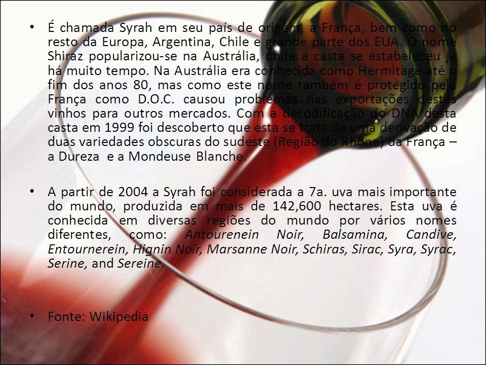 É chamada Syrah em seu país de origem, a França, bem como no resto da Europa, Argentina, Chile e grande parte dos EUA. O nome Shiraz popularizou-se na Austrália, onde a casta se estabeleceu já há muito tempo. Na Austrália era conhecida como Hermitage até o fim dos anos 80, mas como este nome também é protegido pela França como D.O.C. causou problemas nas exportações destes vinhos para outros mercados. Com a decodificação do DNA desta casta em 1999 foi descoberto que esta se trata de uma derivação de duas variedades obscuras do sudeste (Região do Rhône) da França – a Dureza e a Mondeuse Blanche.