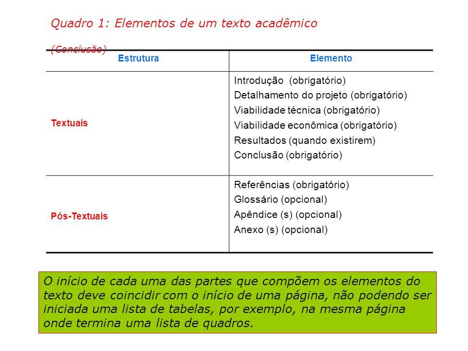 Quadro 1: Elementos de um texto acadêmico (Conclusão)