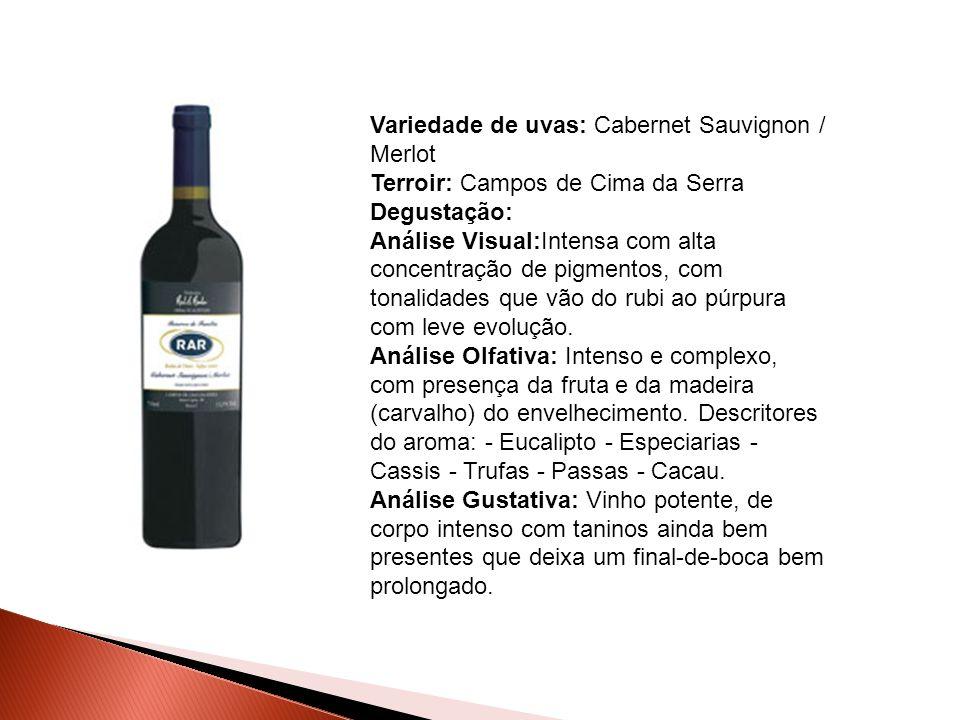 Variedade de uvas: Cabernet Sauvignon / Merlot