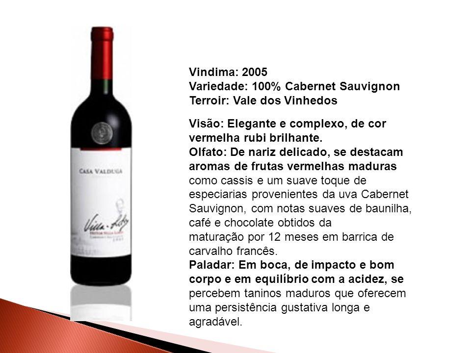 Vindima: 2005 Variedade: 100% Cabernet Sauvignon. Terroir: Vale dos Vinhedos. Visão: Elegante e complexo, de cor vermelha rubi brilhante.