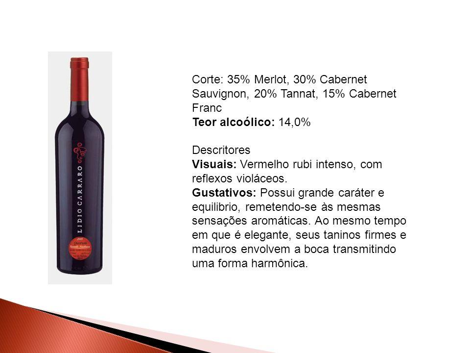 Corte: 35% Merlot, 30% Cabernet Sauvignon, 20% Tannat, 15% Cabernet Franc Teor alcoólico: 14,0% Descritores Visuais: Vermelho rubi intenso, com reflexos violáceos.