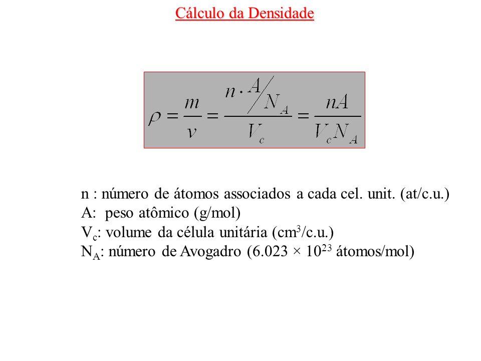 Cálculo da Densidaden : número de átomos associados a cada cel. unit. (at/c.u.) A: peso atômico (g/mol)