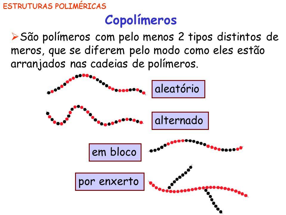 Copolímeros São polímeros com pelo menos 2 tipos distintos de meros, que se diferem pelo modo como eles estão arranjados nas cadeias de polímeros.