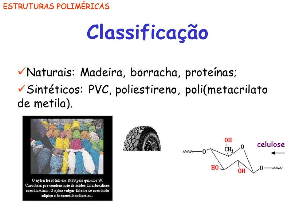 Classificação Naturais: Madeira, borracha, proteínas;