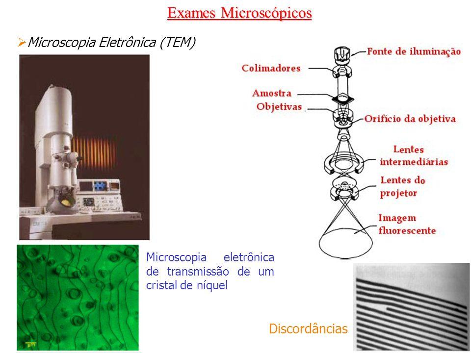 Exames Microscópicos Microscopia Eletrônica (TEM) Discordâncias