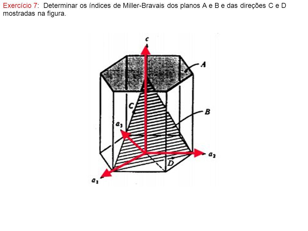 Exercício 7: Determinar os índices de Miller-Bravais dos planos A e B e das direções C e D