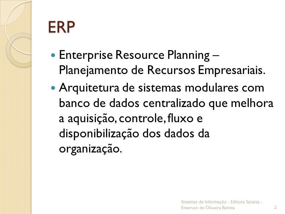 ERP Enterprise Resource Planning – Planejamento de Recursos Empresariais.