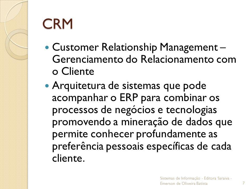 CRMCustomer Relationship Management – Gerenciamento do Relacionamento com o Cliente.