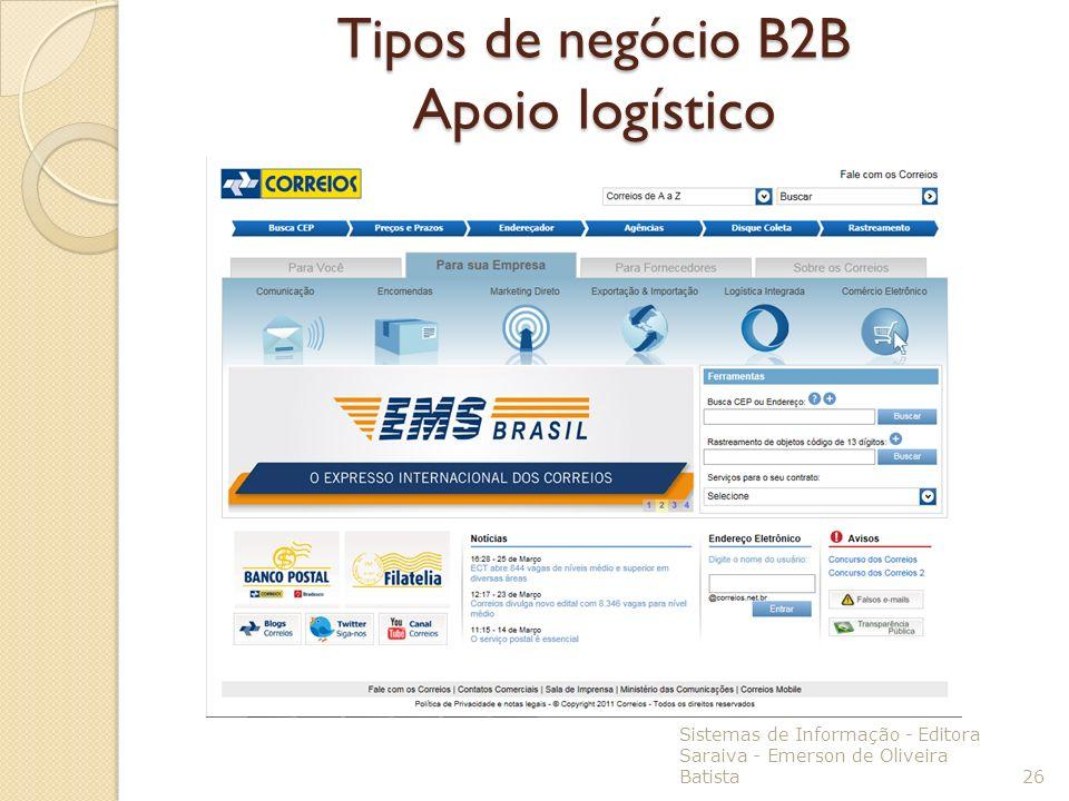 Tipos de negócio B2B Apoio logístico