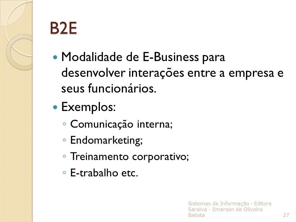 B2EModalidade de E-Business para desenvolver interações entre a empresa e seus funcionários. Exemplos: