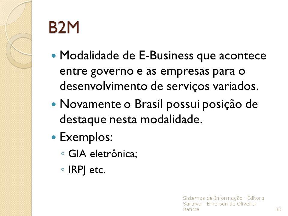 B2MModalidade de E-Business que acontece entre governo e as empresas para o desenvolvimento de serviços variados.