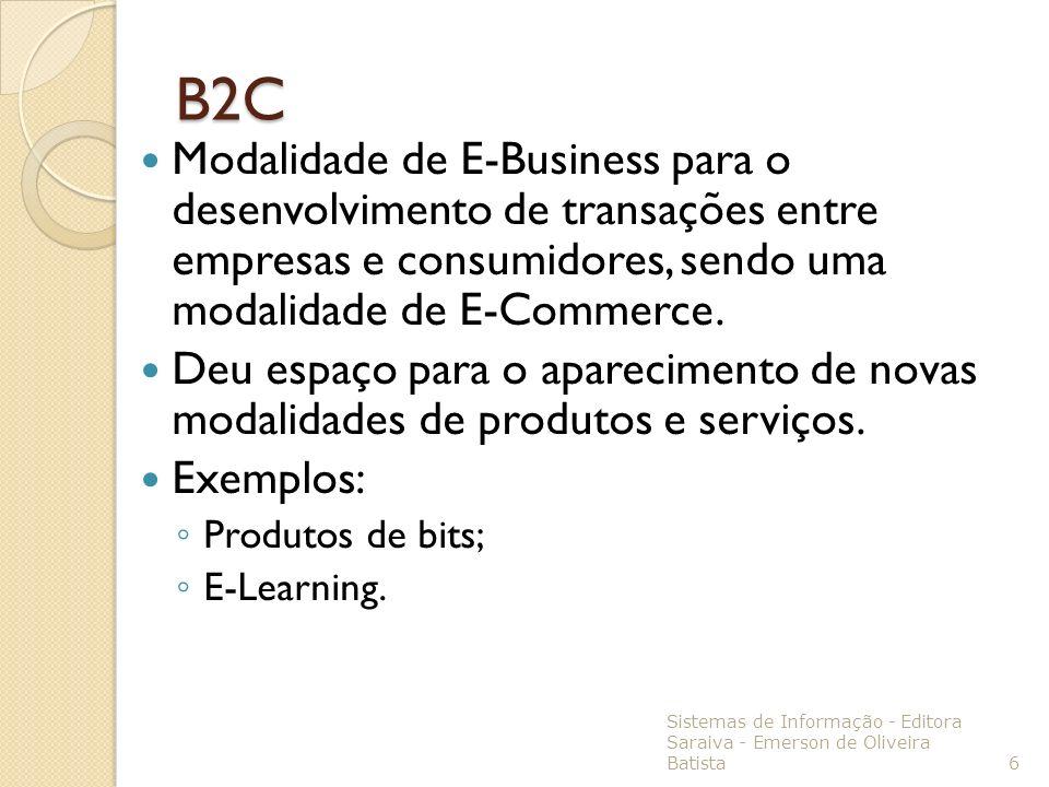 B2C Modalidade de E-Business para o desenvolvimento de transações entre empresas e consumidores, sendo uma modalidade de E-Commerce.