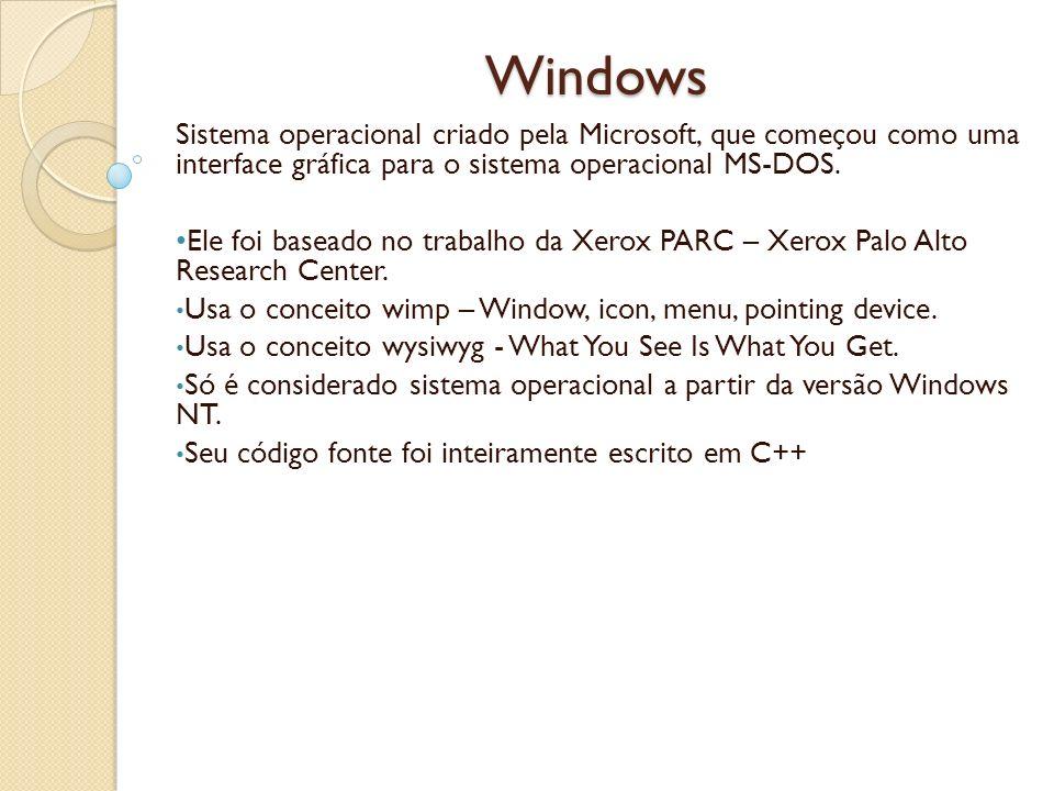 Windows Sistema operacional criado pela Microsoft, que começou como uma interface gráfica para o sistema operacional MS-DOS.