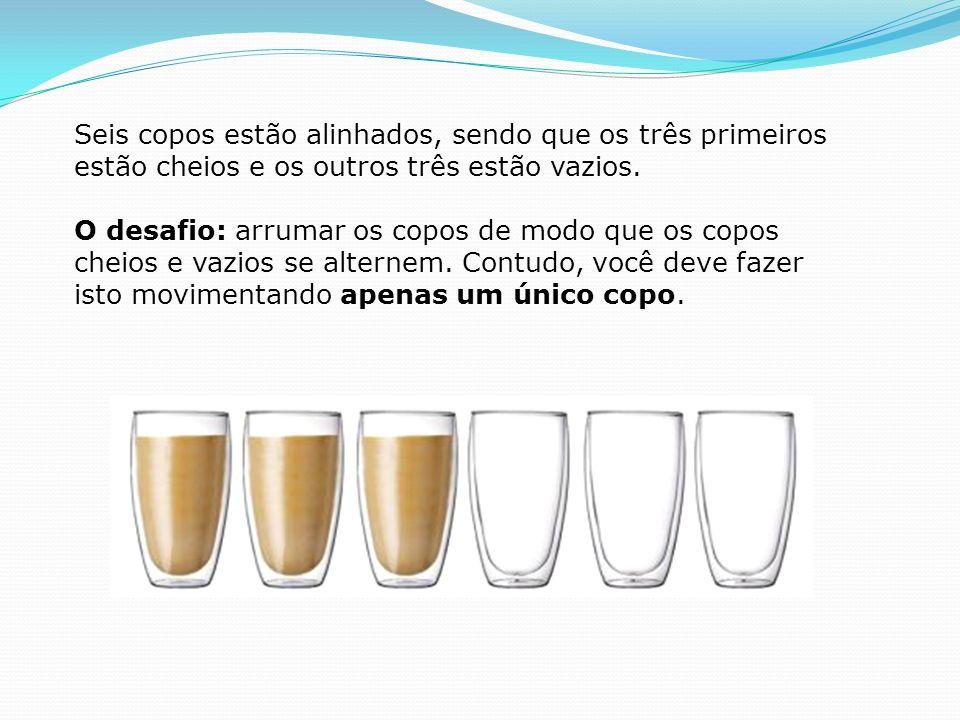 Seis copos estão alinhados, sendo que os três primeiros estão cheios e os outros três estão vazios.