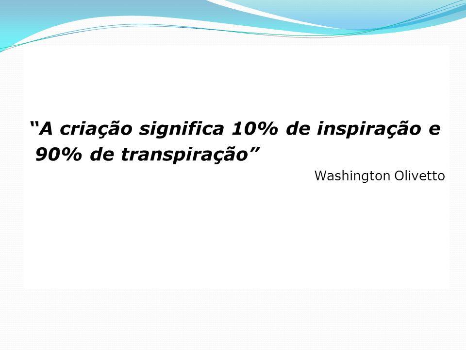 A criação significa 10% de inspiração e 90% de transpiração