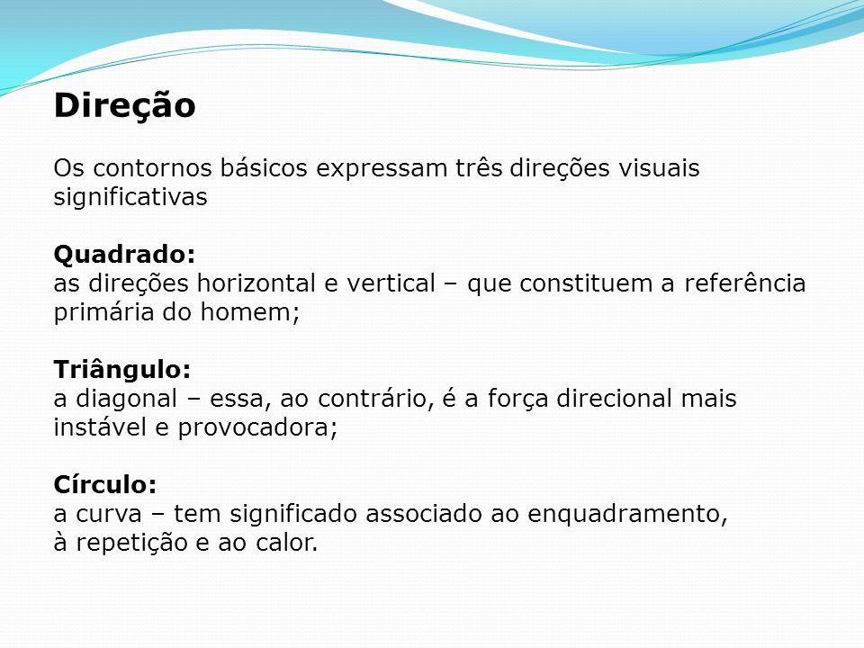 DireçãoOs contornos básicos expressam três direções visuais significativas.